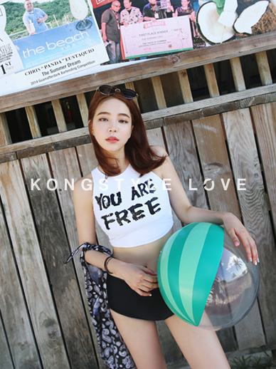 <font color='hotpink'>★ Made in-house ★</font> <br> KONG you are free, Rash Guard set_ver.Crop type <font color='hotpink'><br> SALE 20%</font> <br>