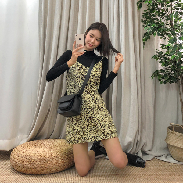 Fall in love with Leopard, Knit+Dress[SET] <br> <font color='gray'>Yellow only when ordering same day shipment</font>