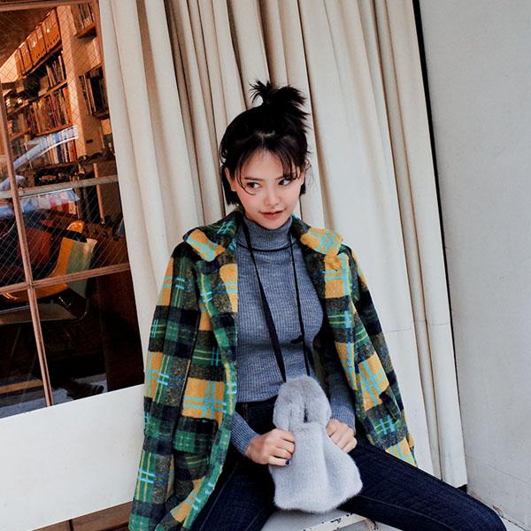 Stylish Check pattern Fur, Coat