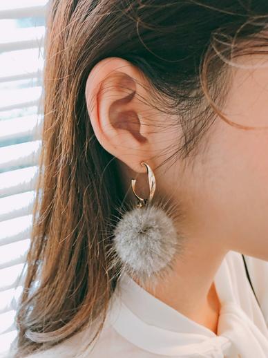 Mink fingernails, earring