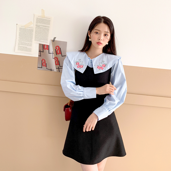 A candle, Wool Dress <br> <font color='red'>★ The best item in KONGSTYLE !! ★</font> <br> <font color='gray'>Shipped same day when ordering black alone</font>