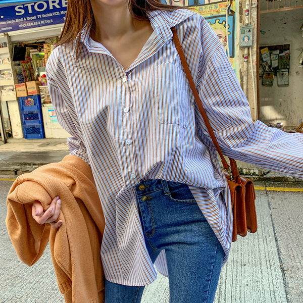 Casey, Stripe Shirt <br> <font color='gray'>Brown only when ordering ships same day</font>