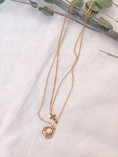 Coin cross, Necklace [Set]