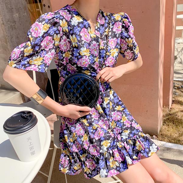 Dressing, Flower pattern Dress <br> <font color='red'>★ The best item in KONGSTYLE !! ★</font>