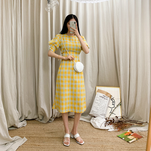 Catch me Check pattern, Strap Dress <br> <font color='gray'>Yellow only when ordering ships same day</font>